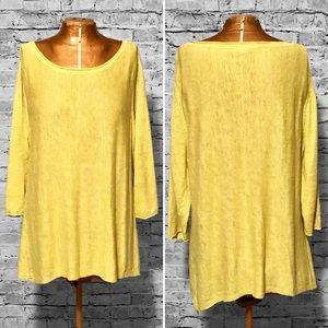 Eileen Fisher Chartreuse Linen Sweater EUC